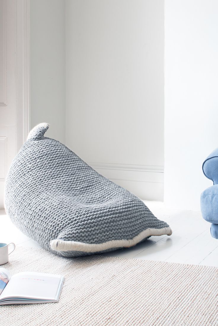 CHOCS BEAN BAG IN LIGHT GREY £245 bean bag, wool, woollen, wool bean bag, woollen bean bag, beanbag, squishy, marshmallow, Chocs, knit, knitted, knitted bean bag, woven, wool, cotton, lazy, chill, chill out, relax, corner, reading corner, kid's bean bag, children's bean bag, furniture, brand new, grey, white, blue, grey bean bag, Loaf, Loaf home, loaf.com, AW17, interior design, homewares, home, home design