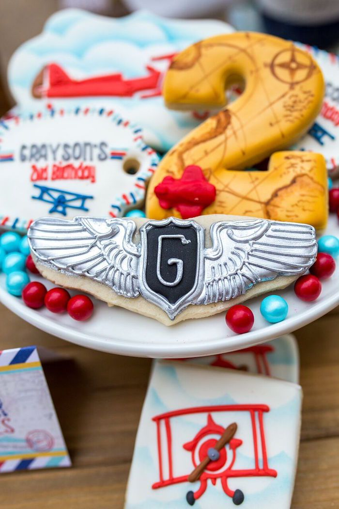 Aviator cookie from a Vintage Airplane Birthday Party on Karas