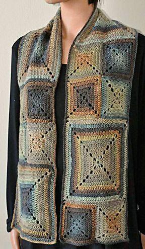 Mini Mochi Crochet Block Scarf free pattern: