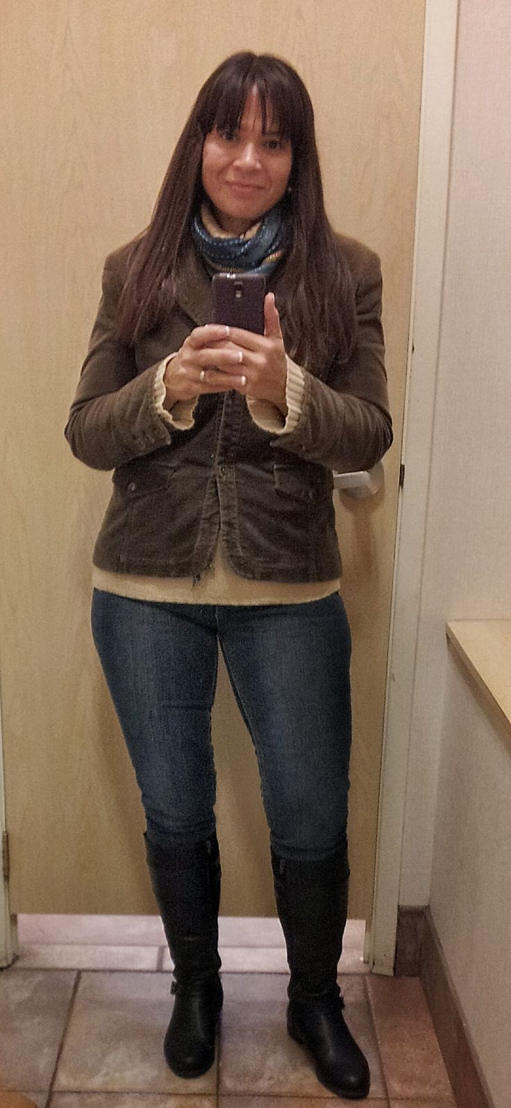 Boots, jeans and scarf from #Reitmans. Sweater and jacket from #ValueVillage.