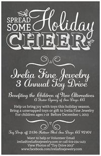 Holiday Giving/ 3rd Annual Toy Drive: Irelia Fine Jewelry Begins 11-12-2013 and accepting toys till December 6, 2013   Popular Toys & Gifts: Legos Remote Control Cars Game Boards  Basketball/ Footballs  Movie Tickets  Disney Princess  Books  Arts/ Crafts  Backpacks  Skateboards  Roller blades  Barbie Charger Gear  Nerf Toys Cameras Electronics/w Batteries  Gift Cards of $30-$40 to Walmart Forever21 Target Toys R Us