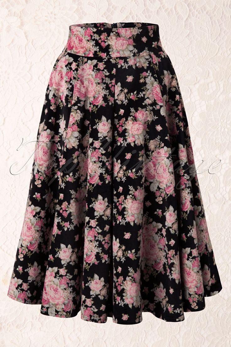 Collectif Clothing - 50s Florence Velvet Swing Skirt
