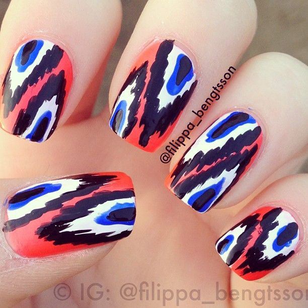 ikat tribal nails