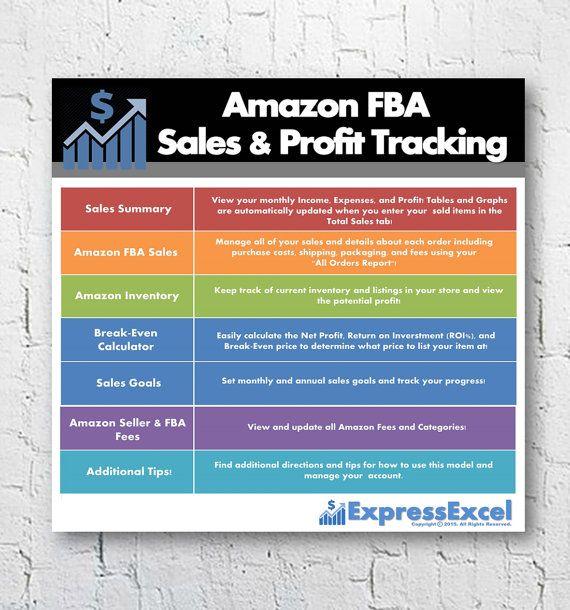 Amazon FBA Seller Sales & Profit Excel Spreadsheet + Break Even Calculator   Fulfillment by Amazon   US + UK   Mac + pc   Instant Download
