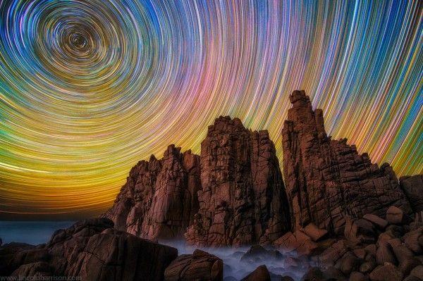star trails rocks