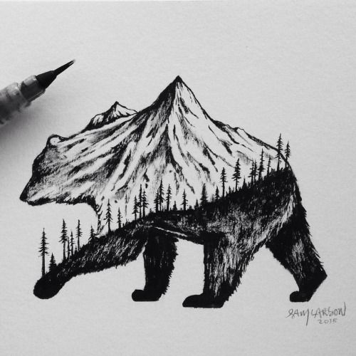 BRUSH PEN GRIZZLY #bear #art #illustration #mountains                                                                                                                                                                                 More