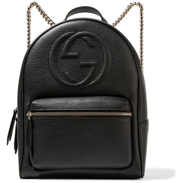 Gucci Soho textured-leather backpack ($1,435) ❤ liked on Polyvore featuring bags, backpacks, gucci, black, backpacks bags, zip bags, gucci bags and logo bags