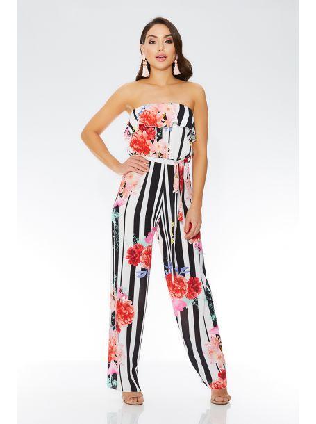 673fb01e05 Cream And Black Floral Stripe Jumpsuit- Quiz