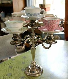 Dishfunctional Designs: My Cup Of Tea - Teacup Crafts & Home Decor. Pooh, and I could fill them with draping plants, succulants, candles, and jewels.