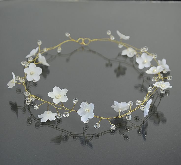 Bridal white flower tiara flower crown bridal hair by PrettyNatali, $49.00