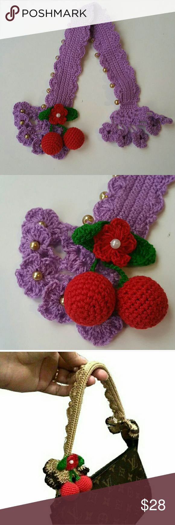 Crochet handle Cover for Louis Vuitton Pochette Crochet handle Cover for Louis Vuitton Pochette/coach wristlet bag. Button closure. Come with cherries charm. Accessories
