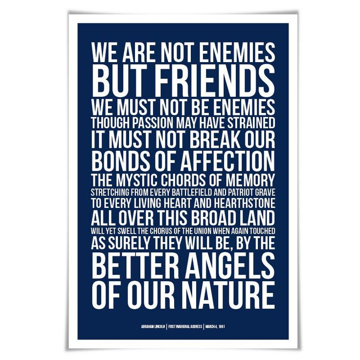 Abraham Lincoln Presidential Inaugural Speech Art Print. 60 Colours/4 Sizes. Better Angels of our Nature. American History