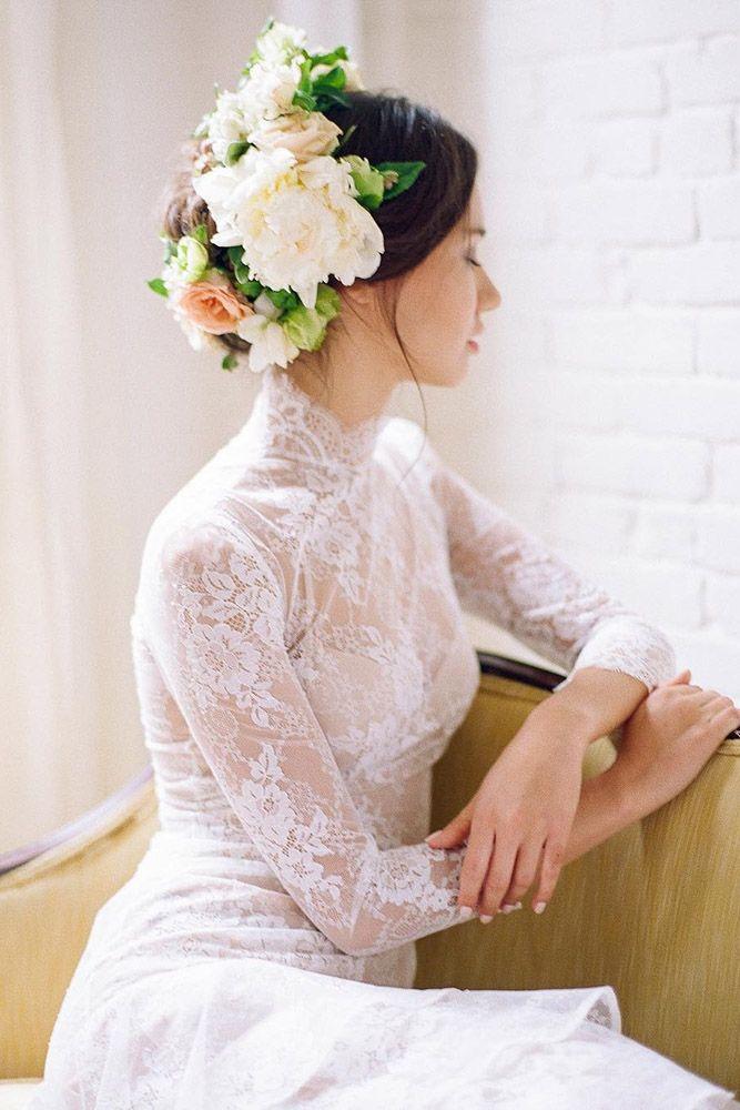 Unforgettable Wedding Hairstyles With Flowers ❤ See more: http://www.weddingforward.com/wedding-hairstyles-with-flowers/ #weddings