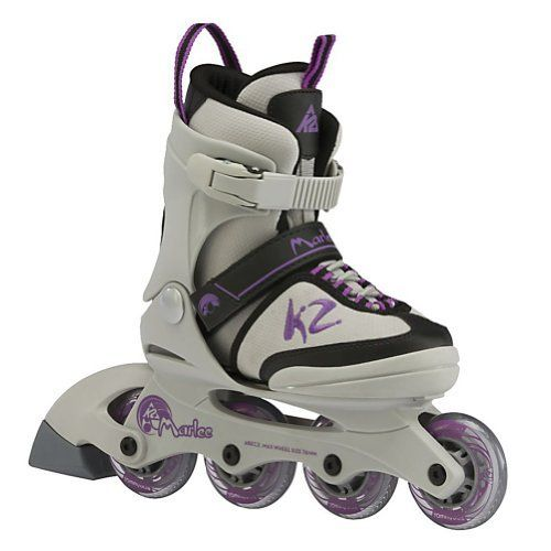 K2 Marlee Adjustable Girls Inline Skates by K2. $59.95. The K2 Marlee is ready to get your kid outside and enjoy being active. The Marlee is for kids who want to get into skating, regardless of ability. The Marlee features the F.B.I frame which is a vibration-absorbing composite frame that is interlocked with the base, keeping children more balanced by being lower to the ground. Five full sizes of adjust- ability will keep these skates in use for more then a season which is...