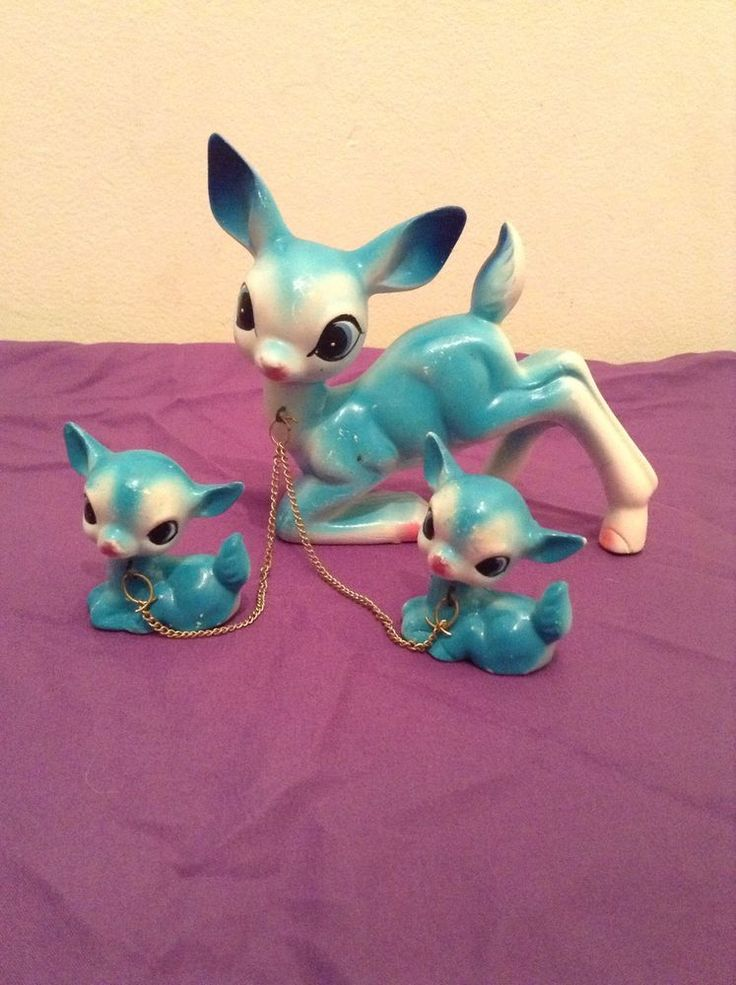 Rare Vintage Aqua Blue Deer Figurine Chain Family  Made In Japan