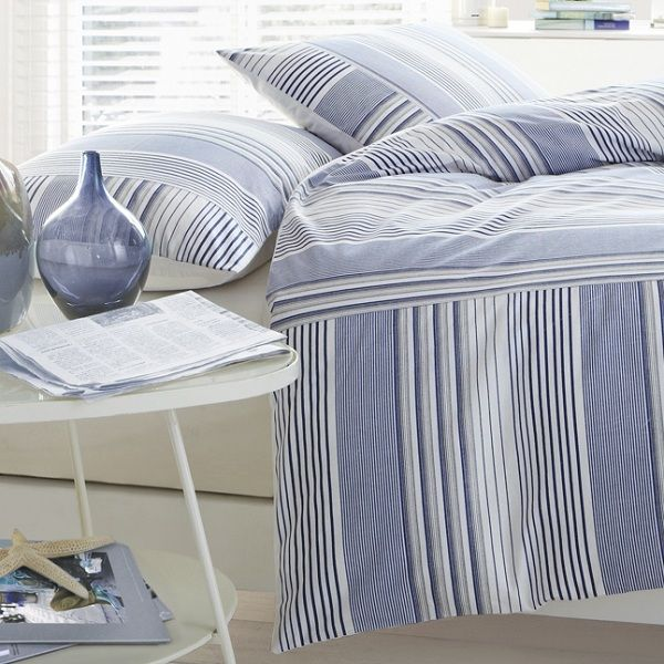 Nautical Style Blue And White Striped Duvet Cover And