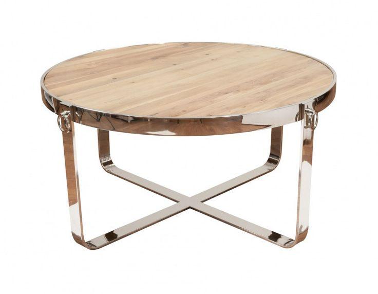 Tøft, rundt Avignon sofabord produsert i kombinasjon av et moderne understell i pusset rustfri stål og en røff og rustikk bordplate av resirkulert furu! Legg merke til de tø
