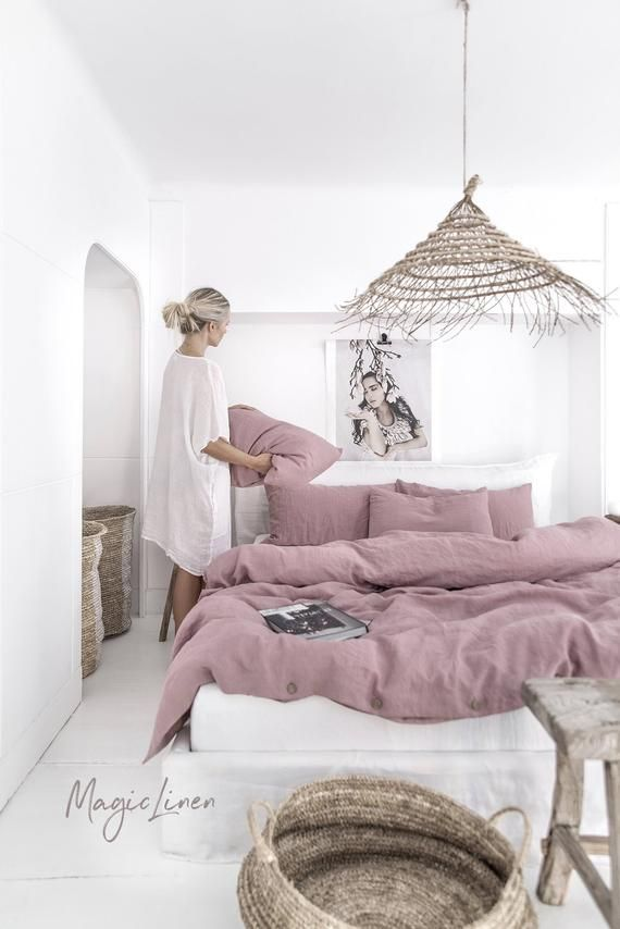 Linen Duvet Cover In Woodrose Dusty Pink Washed Linen Etsy In 2021 Bedroom Design Linen Duvet Covers Washed Linen Duvet Cover