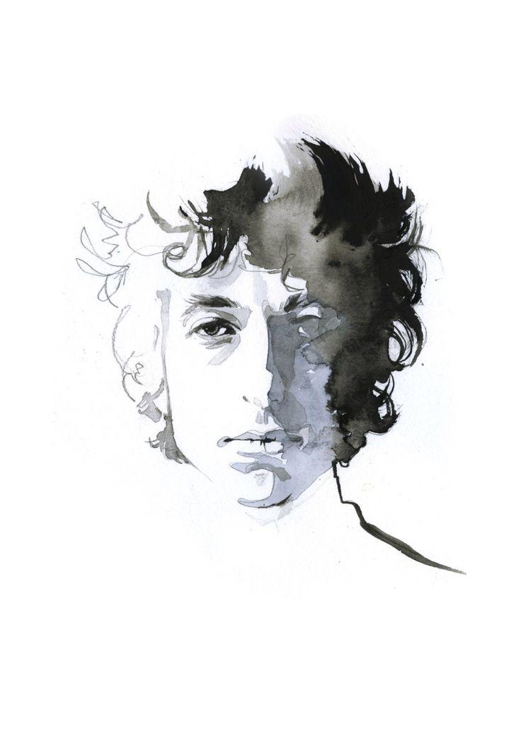 Bob Dylan, watercolor print by JessineHein on Etsy https://www.etsy.com/listing/265171671/bob-dylan-watercolor-print