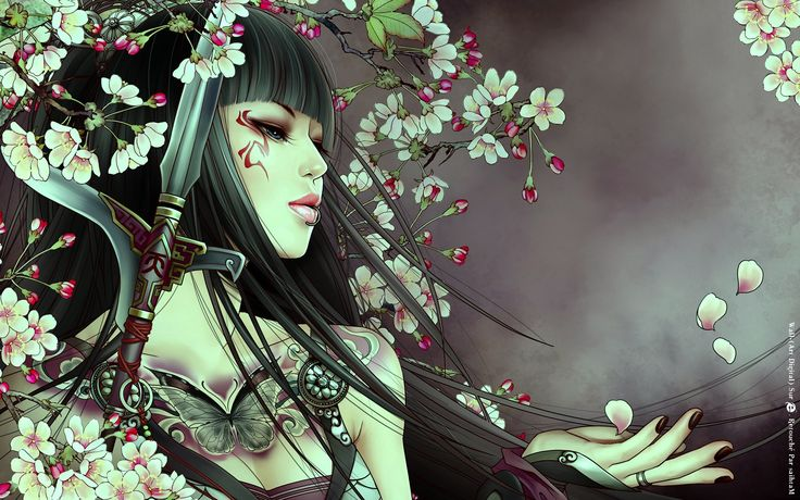 "beautiful girl with flowers in hair | Geiko Sword & Flowers"", 3d, abstract, anime, anime girl, beautiful ..."