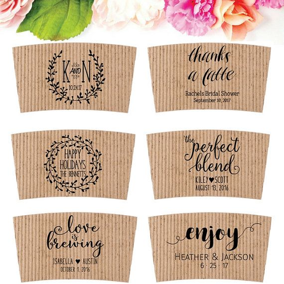Wedding Coffee Sleeve Stamp for Coffee Wedding Drinks by SouthernPaperAndInk. Click to choose your favorite.