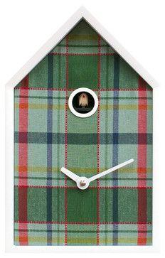 Tartan White/Green Wall Clock contemporary-cuckoo-clocks