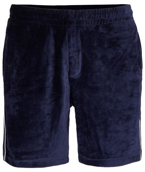 Topman Navy Piping Velour Shorts