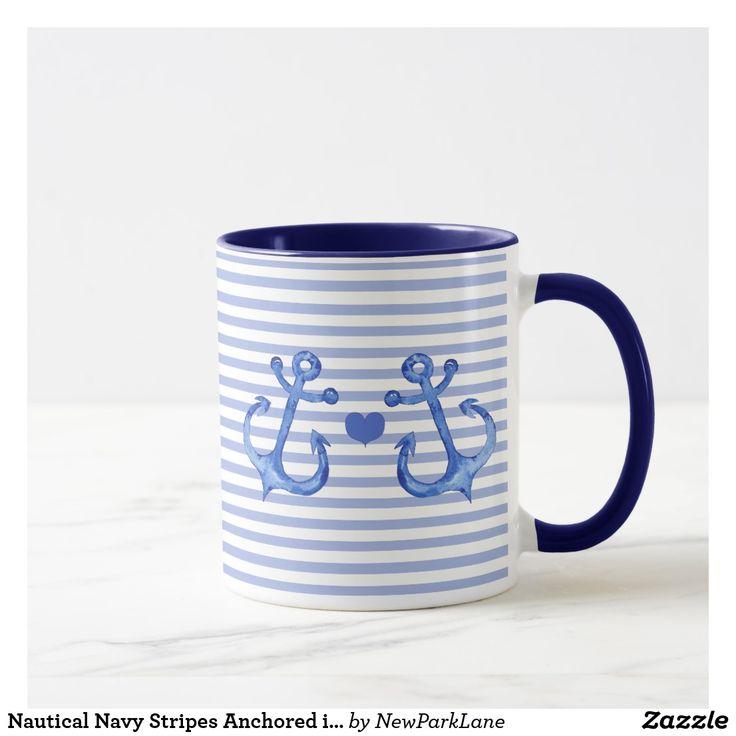 Nautical Navy Stripes Anchored in Love Coffee Mug | Zazzle ...