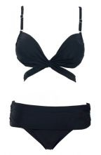 Black Push-Up Cut Out Knot Top & Foldover Bottom
