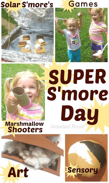 SUPER S'more Day- A Summer FUN day packed with activities to keep kids busy and having fun- kid made solar s'more's, GIANT marshmallow painting , s'more sensory play, kid made s'more play dough, easy to make marshmallow shooters,  etc