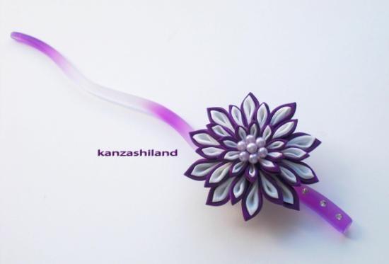 Kiku crisantemo japonés para el cabello,  tsumami kanzashi