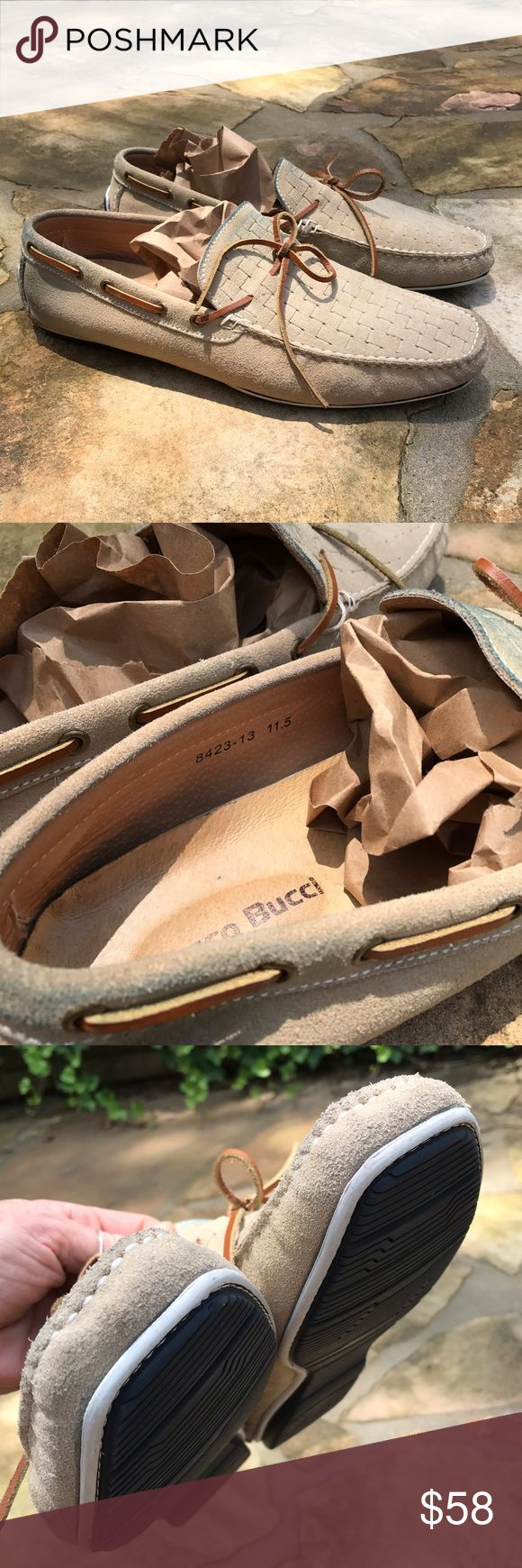 """Men's BACCO BUCCI """"Kincade"""" Driving Moc BACCO BUCCI """"Kincade"""" Driving Moc in Sand. These have been worn one(1) time. Structurally in perfect  condition. Leather does have a little """"blue"""" from the denim jeans that were worn with them. Nothing that can't be cleaned.  These are exceptionally well made... and a clear deal! Size 11.5 mens medium. Bacco Bucci Shoes Loafers & Slip-Ons"""