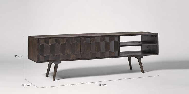 Swoon Editions Media unit, mid-century style in blackened mango wood - £249