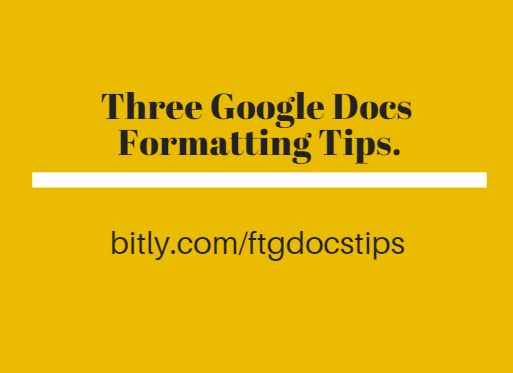 The transition from Word or Pages to Google Documents often prompts a lot of questions about formatting settings. In the video embedded below I address three formatting questions that I am frequent...