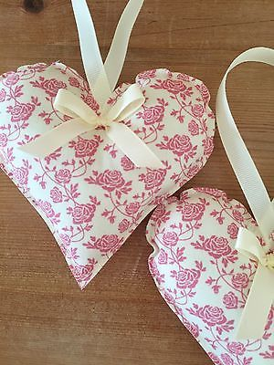 Handmade Fabric Hanging Hearts - Set Of Two - Floral Pink -Shabby Chic - Vintage • For Sale £3.60 2 • £3.60