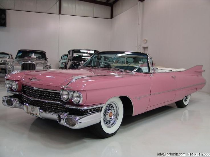 "1959 Pink Cadillac Convertible...classic!--Just need some ""crushed velvet seats"".  SAHWEET!"