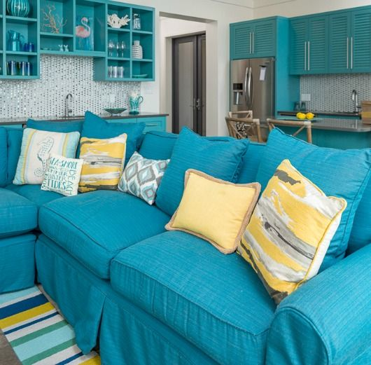 95 best beach cottage decor images on pinterest beach for Teal blue living room ideas