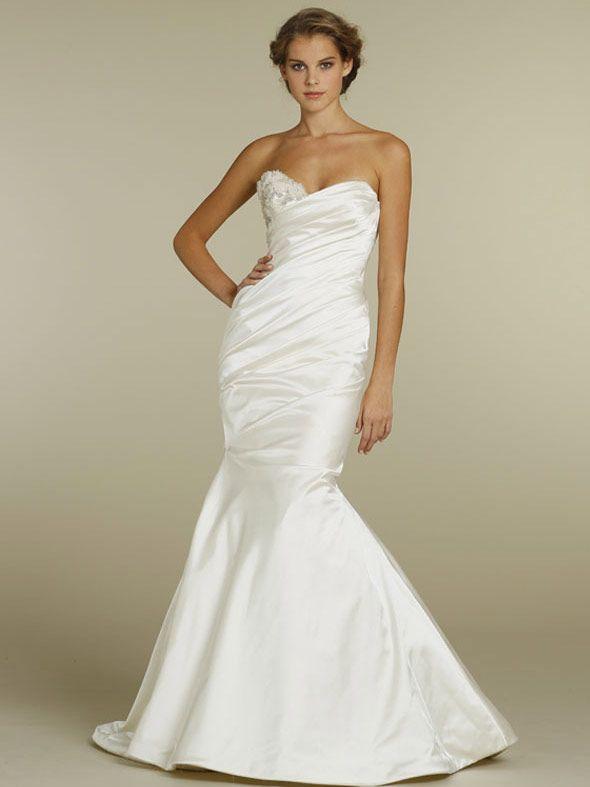 ivory satin asymmetrically draped trumpet wedding dress with sweetheart neck
