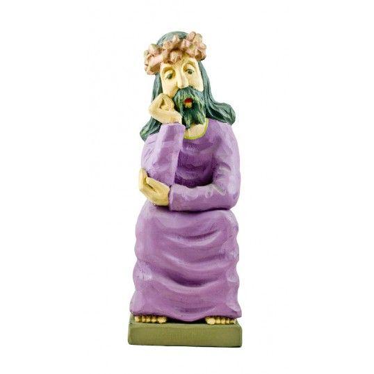 Figure of Pensive Christ carved by the folk artist Mr. S. Trocki. Pensive Christ (Meditating Jesus) is one of the most common motif in polish folk art.