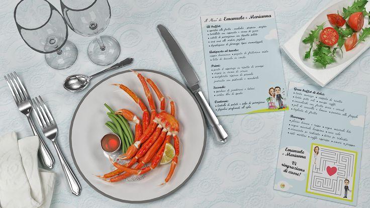Menù cartolina con illustrazione personalizzata per ogni invitato