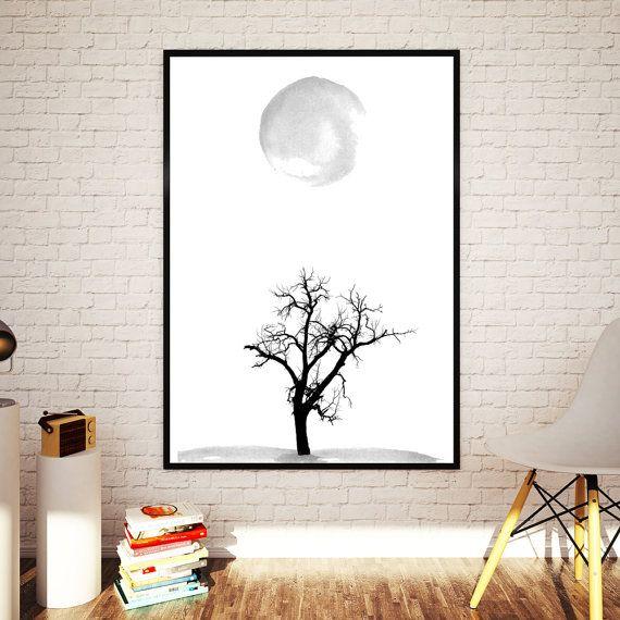 Tree and Moon Minimalist Abstract Art  by NordicPrintStudio