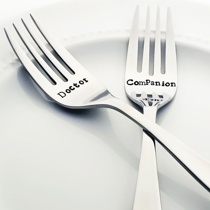 Doctor Who Doctor/Companion - Stamped Wedding Forks (Stainless Steel)
