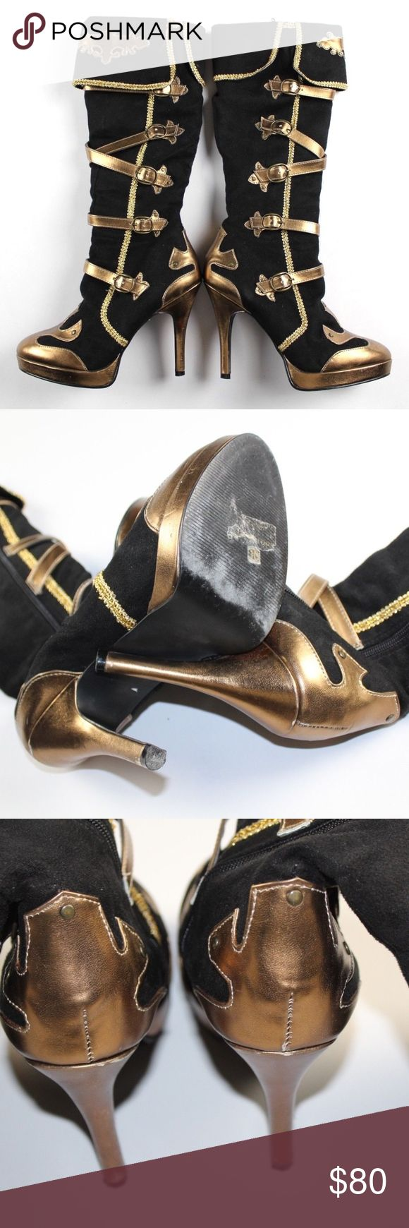 FUNTASMA 10 Medieval Gothic Heel Cosplay Boots Funtasma Size Zip Gothic Medieval Cosplay Heel Boots  Pumps  Comes from a smoke-free household  Black and Gold  Womens 10  Suede  Side zip  Approximately measures 18 inches tall and the heels approximately measure 3 inches  Check out my other items in my store! Funtasma Shoes Heeled Boots