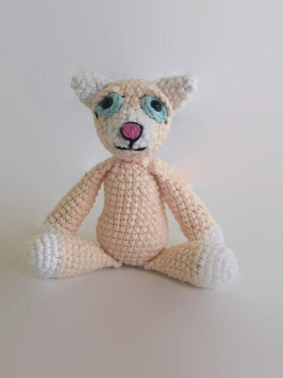 crochet pink cat doll cotton rag doll OOAK by AWickedStitchery