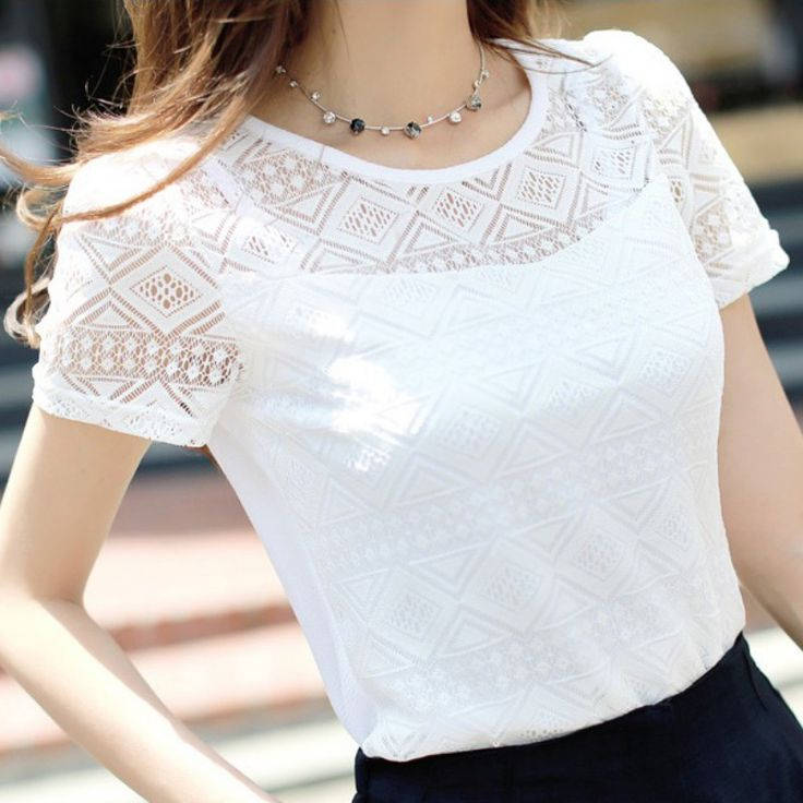 Free Shipping - New 2017 White Elegant Lace Blouse Chiffon Tops With Short Sleeve