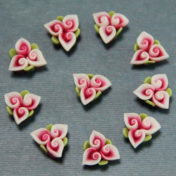 4pcSisters FlowersredPolymer Clay DIY Flowers for by naturaler, $1.15