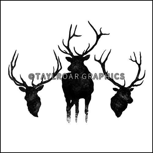 Elk silhouette group custom tattoo design. www.taylroargraphics.com