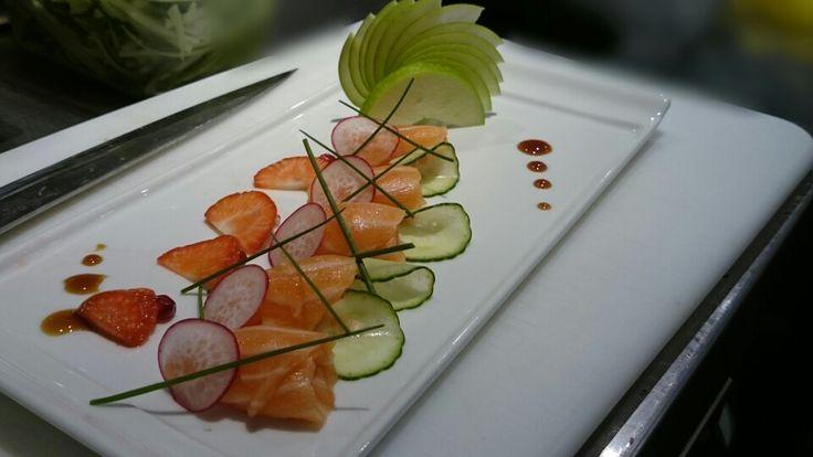 Healthy salmon sashimi