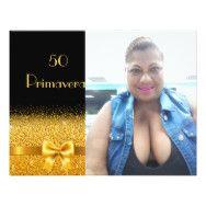 Tarjeta 50.a foto elegante del oro del negro de la | Zazzle.es