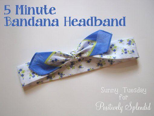Positively Splendid {Crafts, Sewing, Recipes and Home Decor}: 5-Minute Bandana Headband